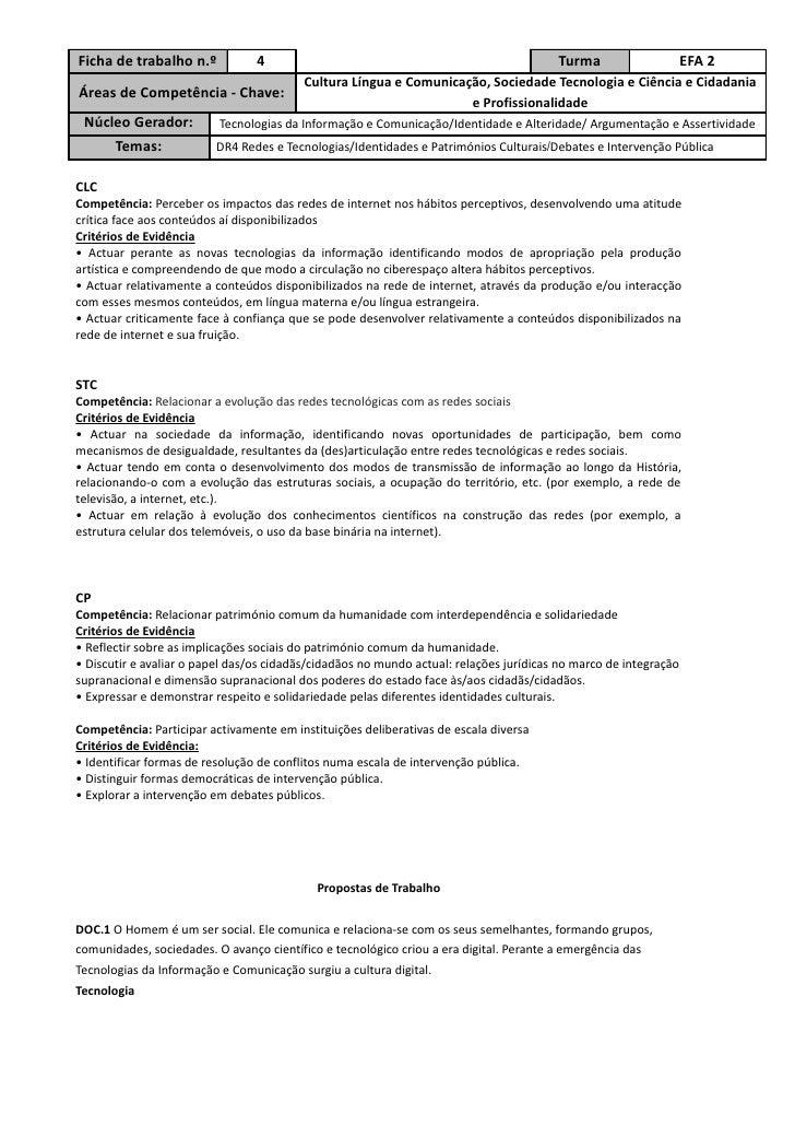 Ficha de trabalho n.º            4                                                      Turma                     EFA 2   ...
