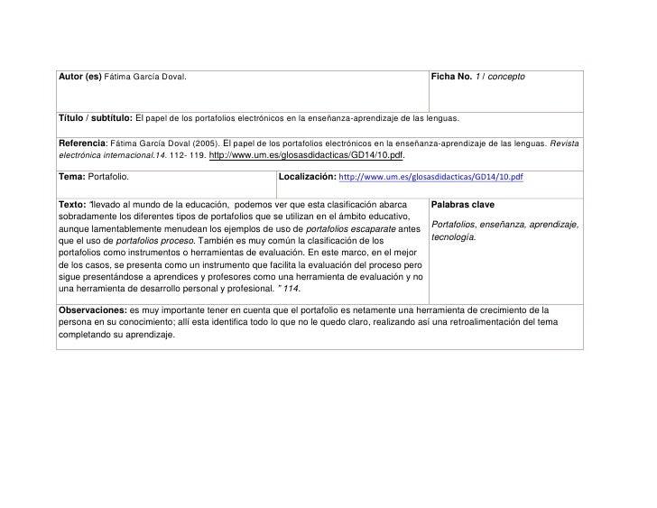 Autor (es) Fátima García Doval.Ficha No. 1 / concepto Título / subtítulo: El papel de los portafolios electrónicos en la e...