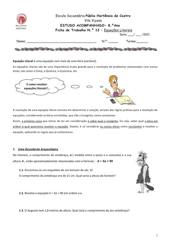 Ficha  12 equações literais