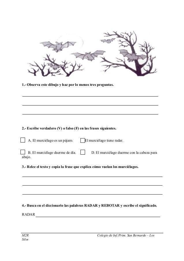 1.- Observa este dibujo y haz por lo menos tres preguntas. 2.- Escribe verdadero (V) o falso (F) en las frases siguientes....