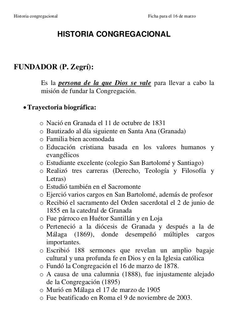 Historia congregacional                             Ficha para el 16 de marzo                      HISTORIA CONGREGACIONAL...