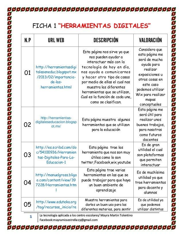 """1 La tecnología aplicada a los centro escolares/ Mayra Martin Tolentino Facebook:mayramissestrella19@gmail.com FICHA 1 """"HE..."""