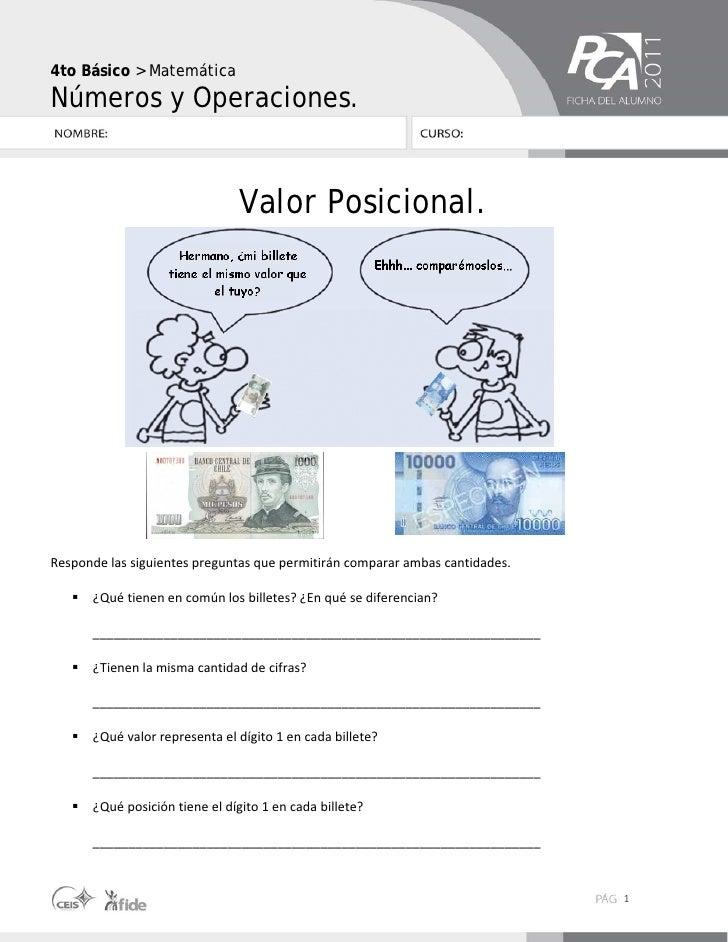 Números y operaciones4to Básico > MatemáticaNúmeros y Operaciones.                             Valor Posicional.Respondel...