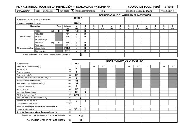 FICHA 2: RESULTADOS DE LA INSPECCIÓN Y EVALUACIÓN PRELIMINAR CÓDIGO DE SOLICITUD: IV-1256 Nº DE ZONA: 1 Tipo: Con riesgo S...