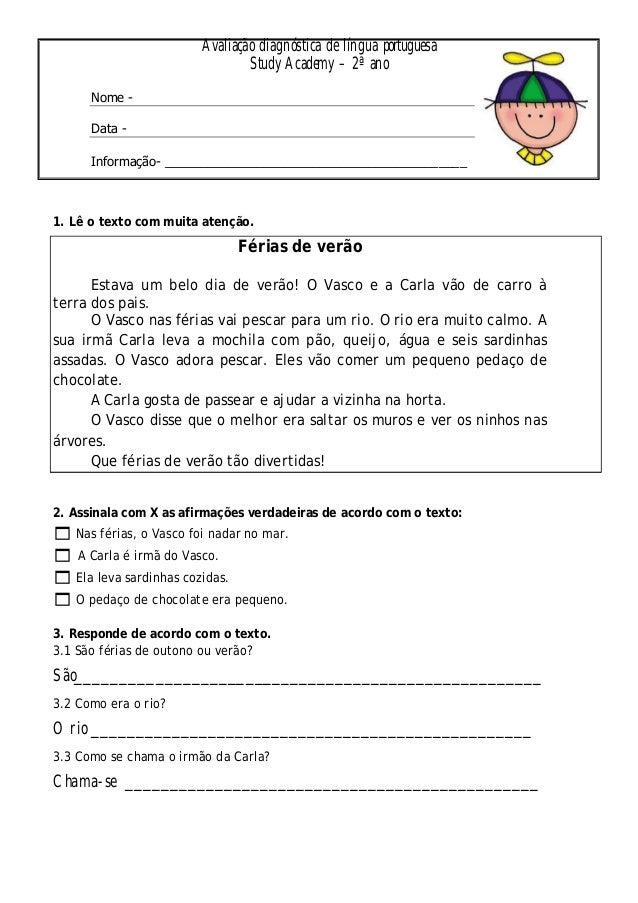 Avaliação diagnóstica de língua portuguesa  Study Academy – 2ª ano  Nome -  Data -  Informação- __________________________...