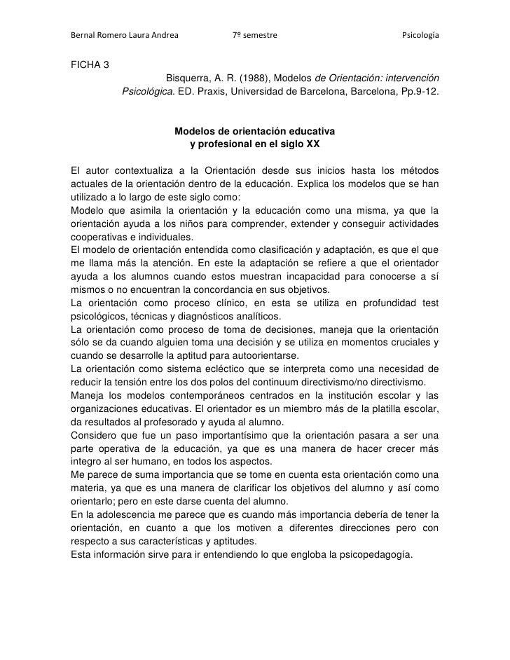 FICHA 3<br />Bisquerra, A. R. (1988), Modelos de Orientación: intervención <br />Psicológica. ED. Praxis, Universidad de B...