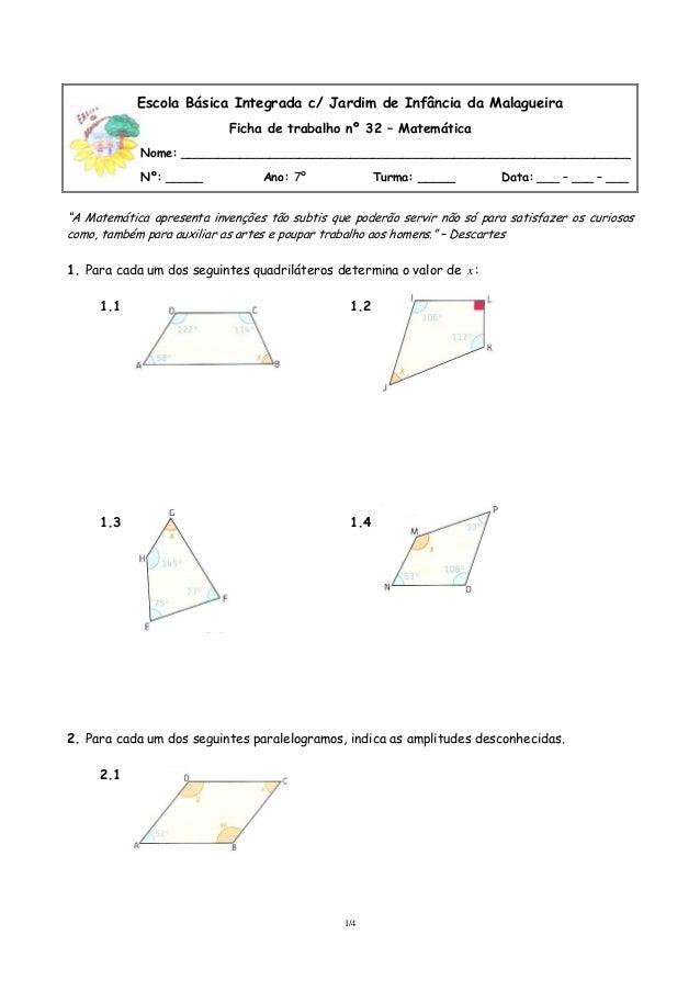 Escola Básica Integrada c/ Jardim de Infância da Malagueira Ficha de trabalho nº 32 – Matemática Nome: ___________________...