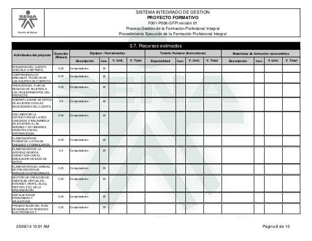 Modelo de Mejora SISTEMA INTEGRADO DE GESTION F001-P006-GFPI versión 01 PROYECTO FORMATIVO Proceso Gestión de la Formación...