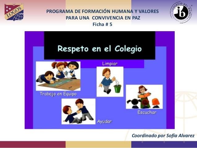 PROGRAMA DE FORMACIÓN HUMANA Y VALORES PARA UNA CONVIVENCIA EN PAZ Ficha # 5 Coordinado por Sofía Alvarez
