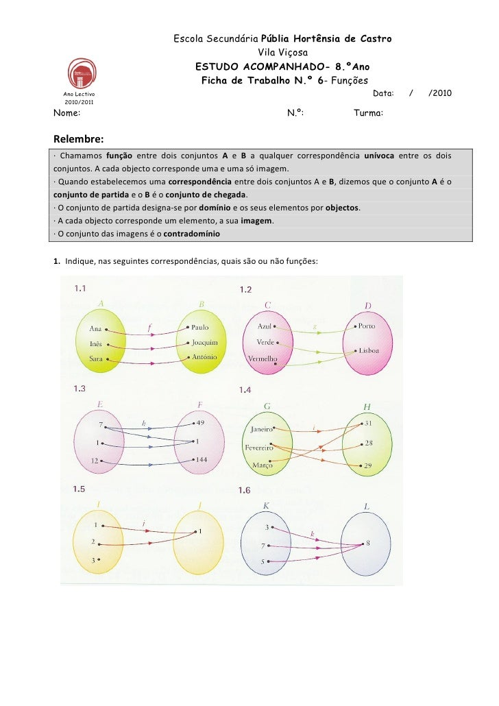 Ficha 6  funções e interpretação de gráficos