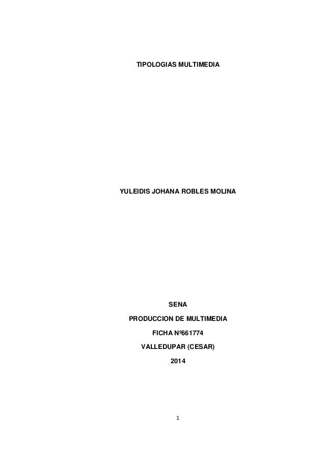 TIPOLOGIAS MULTIMEDIA  YULEIDIS JOHANA ROBLES MOLINA  SENA PRODUCCION DE MULTIMEDIA FICHA Nº661774 VALLEDUPAR (CESAR) 2014...