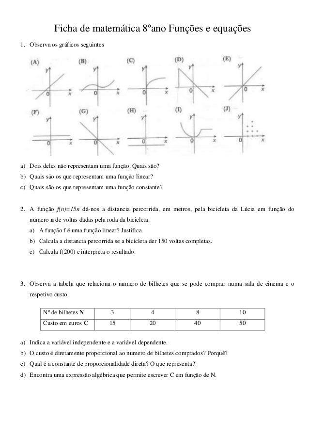 Ficha de matemática 8ºano Funções e equações 1. Observa os gráficos seguintes a) Dois deles não representam uma função. Qu...