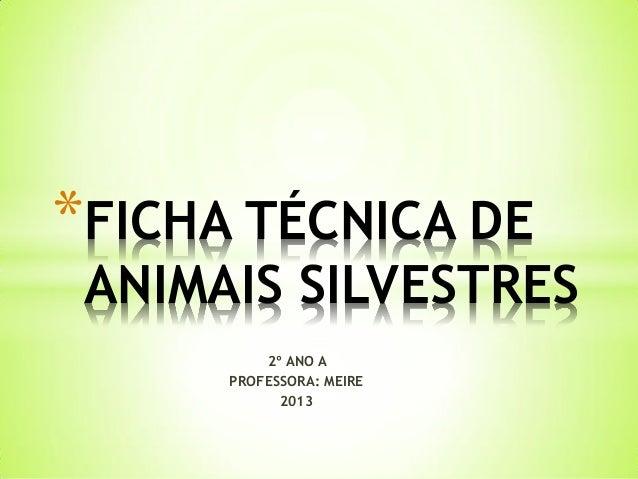 *FICHA TÉCNICA DE  ANIMAIS SILVESTRES 2º ANO A PROFESSORA: MEIRE 2013
