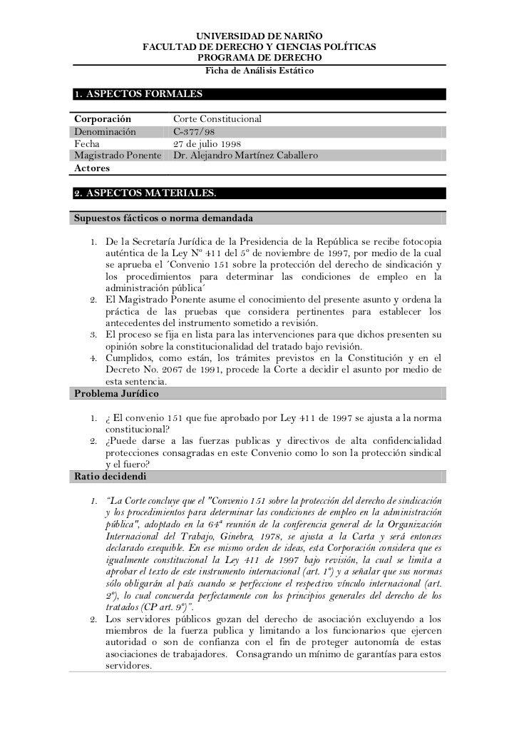UNIVERSIDAD DE NARIÑO                FACULTAD DE DERECHO Y CIENCIAS POLÍTICAS                        PROGRAMA DE DERECHO  ...