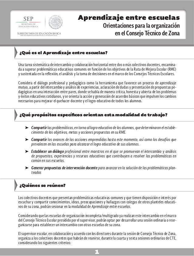 Aprendizaje entre escuelas Orientaciones para la organización en el Consejo Técnico de Zona 1 Aprendizaje entre escuelas O...