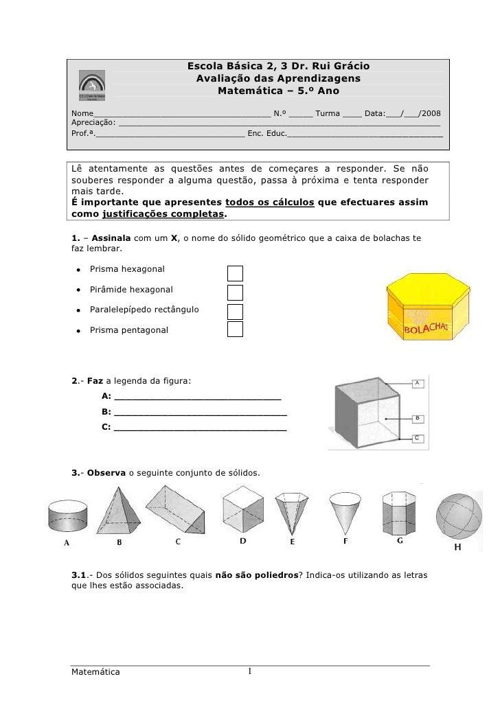 Escola Básica 2, 3 Dr. Rui Grácio                            Avaliação das Aprendizagens                                Ma...