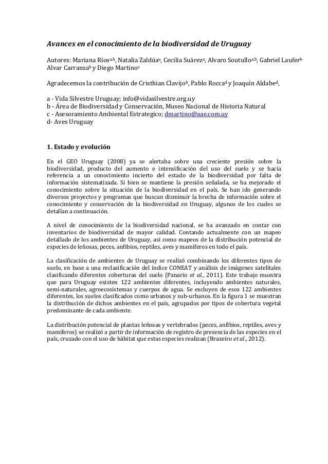 Avances en el conocimiento de la biodiversidad de Uruguay Autores: Mariana Ríosa,b, Natalia Zaldúaa, Cecilia Suáreza, Alva...