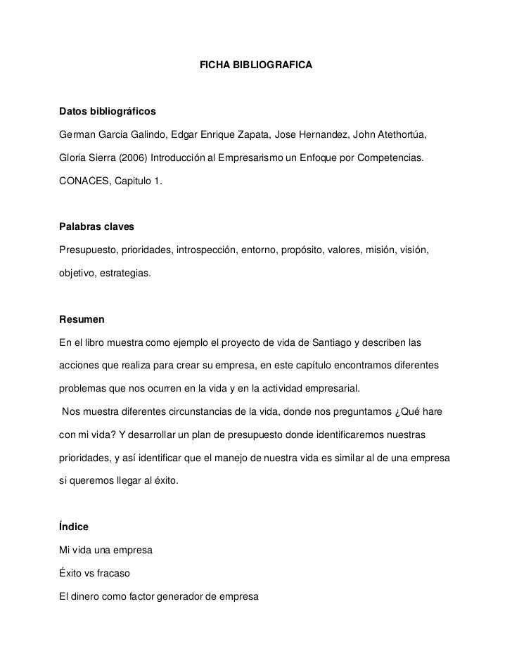 Ficha Bibliografica Cap 1 Libro Empresarismo