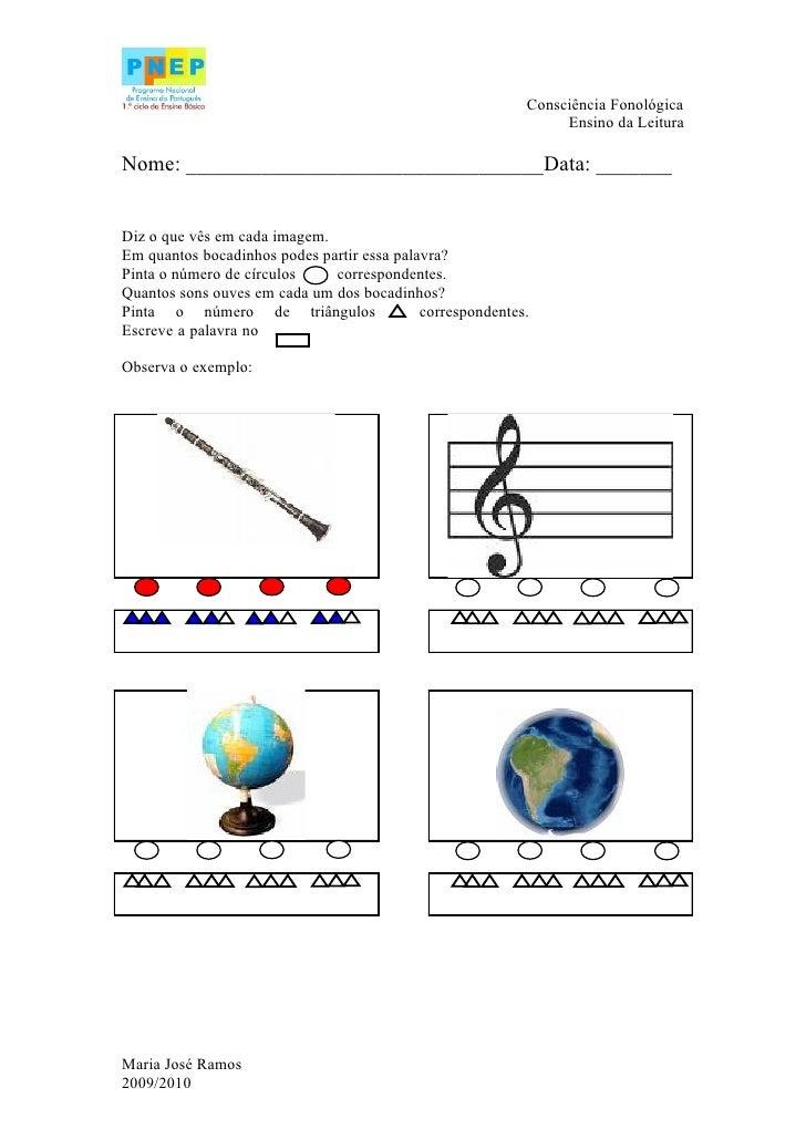 Consciência Fonológica                                                                 Ensino da Leitura  Nome: __________...