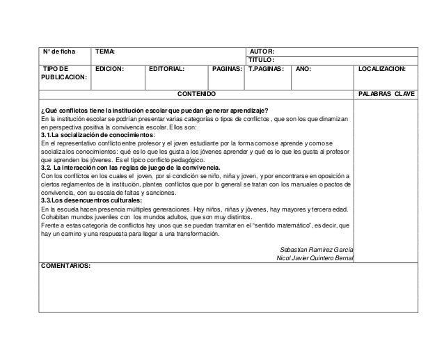 N° de ficha TEMA: AUTOR: TITULO: TIPO DE PUBLICACION: EDICION: EDITORIAL: PAGINAS: T.PAGINAS: AÑO: LOCALIZACION: CONTENIDO...