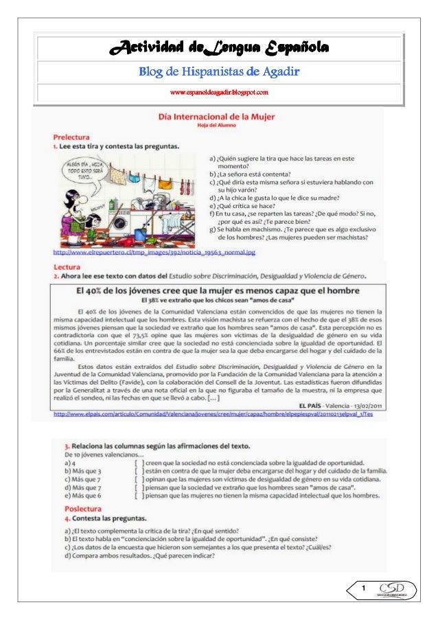 deLengua Actividad deLengua Española Blog de Hispanistas de Agadir www.espanoldeagadir.blogspot.com  1