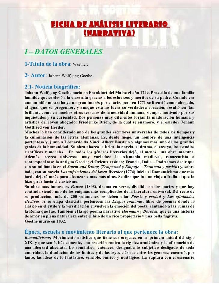 FICHA DE ANÁLISIS LITERARIO                      (NARRATIVA)I – DATOS GENERALES1-Título de la obra: Werther.2- Autor: Joha...