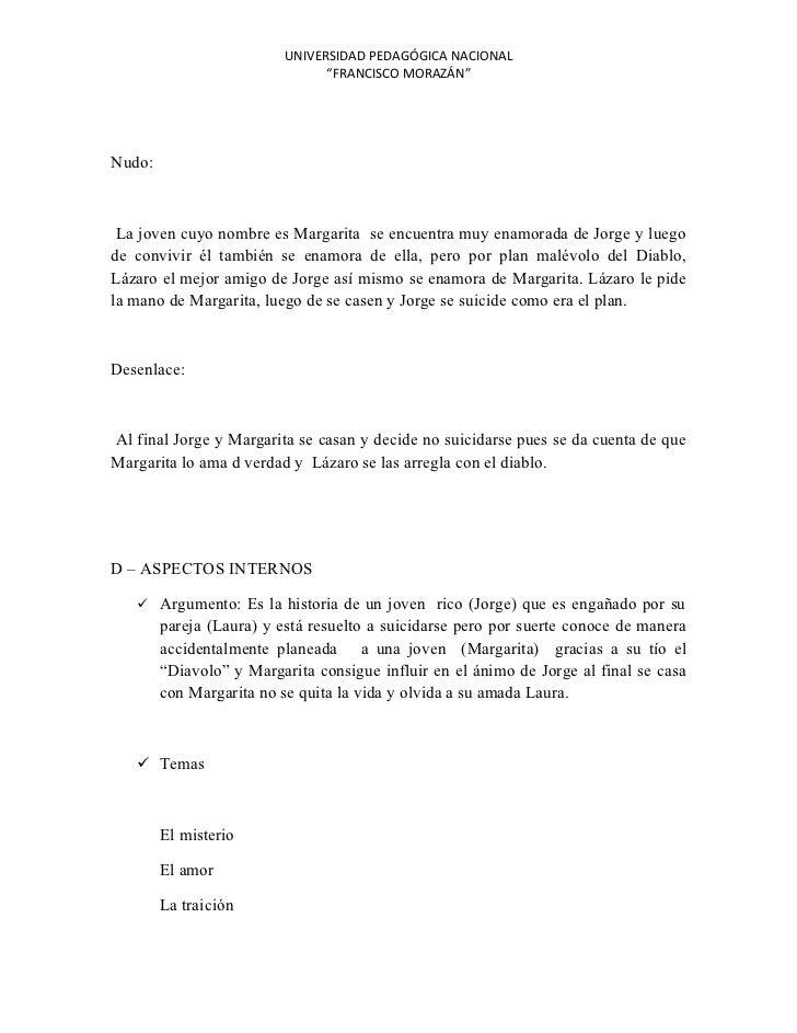 """UNIVERSIDAD PEDAGÓGICA NACIONAL                                """"FRANCISCO MORAZÁN""""Nudo: La joven cuyo nombre es Margarita ..."""