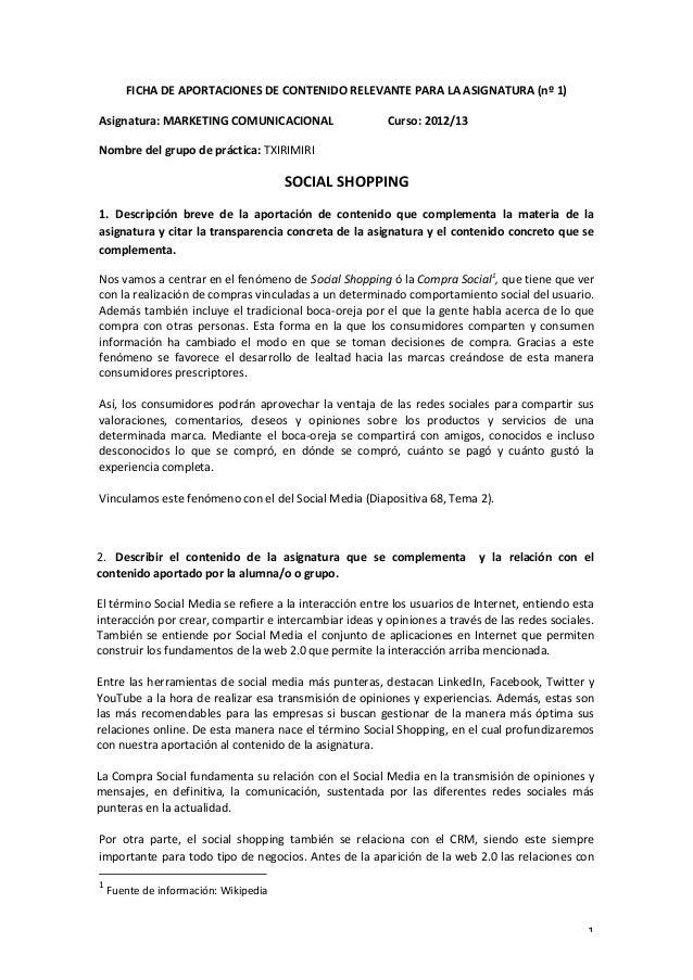 1 FICHA DE APORTACIONES DE CONTENIDO RELEVANTE PARA LA ASIGNATURA (nº 1) Asignatura: MARKETING...