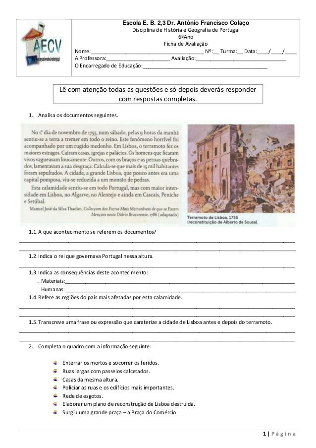 1 | P á g i n aEscola E. B. 2,3 Dr. António Francisco ColaçoDisciplina de História e Geografia de Portugal6ºAnoFicha de Av...