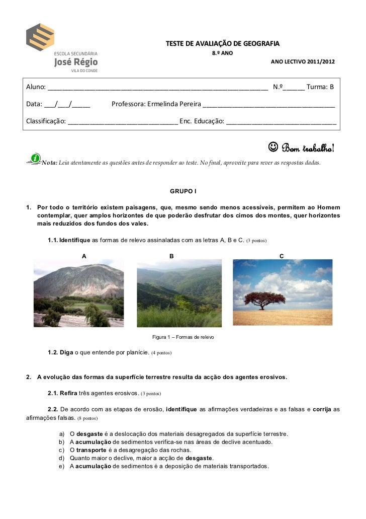 TESTE DE AVALIAÇÃO DE GEOGRAFIA                                                                            8.º ANO        ...