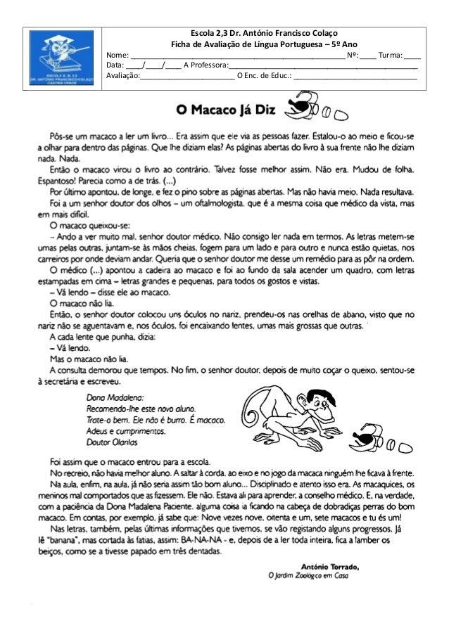 Escola 2,3 Dr. António Francisco ColaçoFicha de Avaliação de Língua Portuguesa – 5º AnoNome: _____________________________...