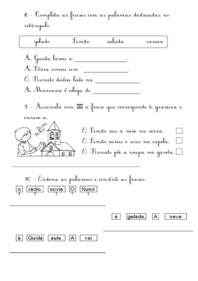 Ficha de avaliação 1º ano
