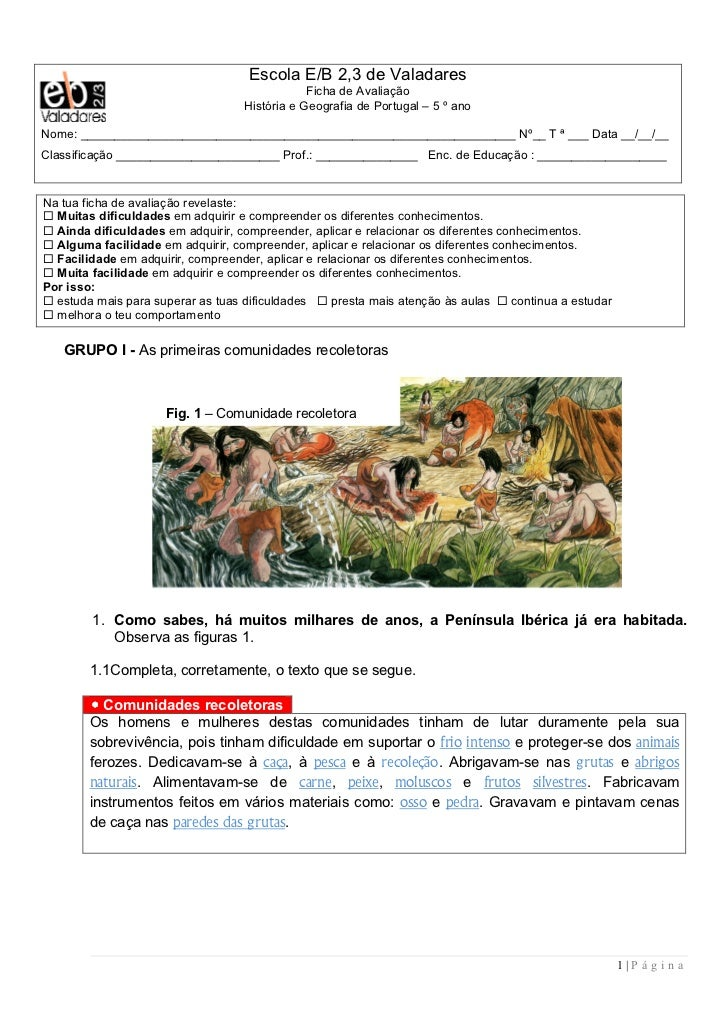 Escola E/B 2,3 de Valadares                                                Ficha de Avaliação                             ...