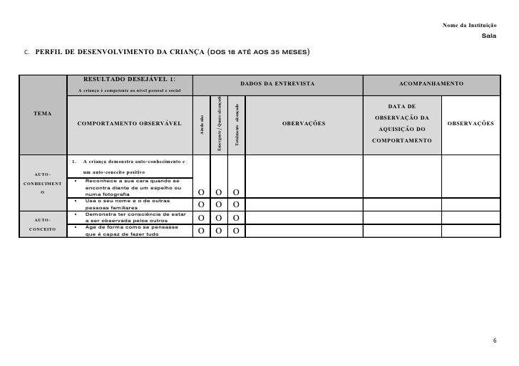 Ficha de avaliação de diagnóstico   perfil de desenvolvimento 18 aos 37 meses