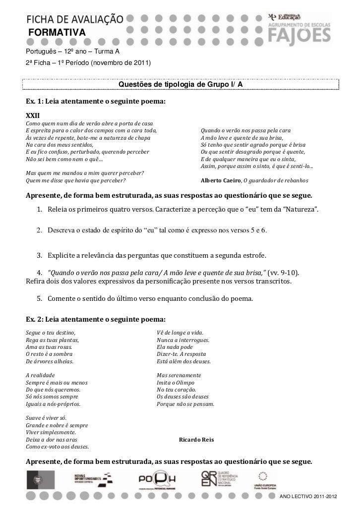 FORMATIVAPortuguês – 12º ano – Turma A2ª Ficha – 1º Período (novembro de 2011)                                    Questões...