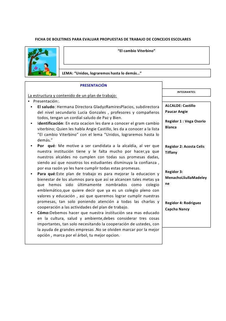Ficha de boletines para evaluar propuestas de trabajo de for Trabajo en comedores escolares bogota