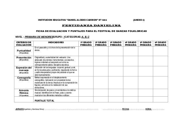 """INSTITUCION EDUCATIVA """"DANIEL ALCIDES CARRION"""" N° 1206 (ANEXO 3) FESTIDANZA DANIELINA FICHA DE EVALUACION Y PUNTAJES PARA ..."""
