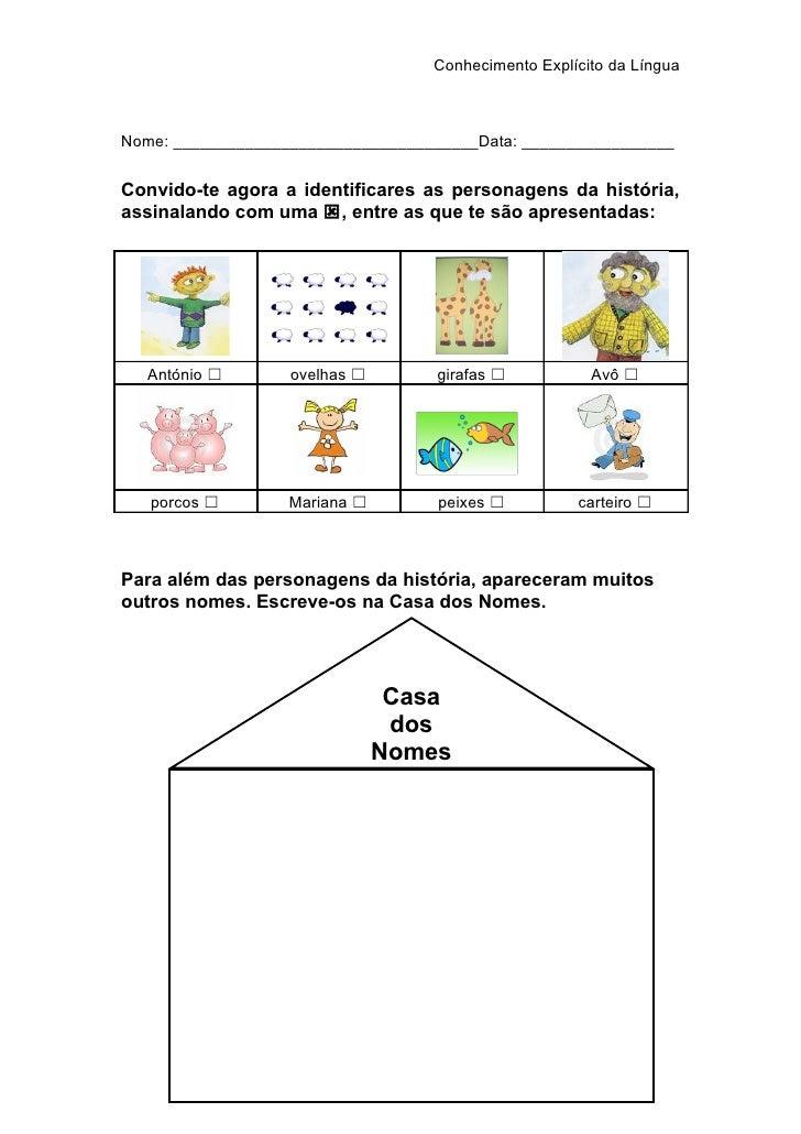 Conhecimento Explícito da Língua    Nome: __________________________________Data: _________________   Convido-te agora a i...