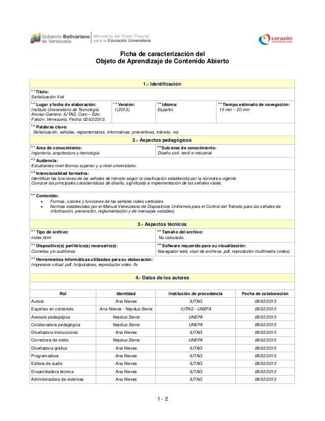 Ficha de caracterización del                                    Objeto de Aprendizaje de Contenido Abierto                ...