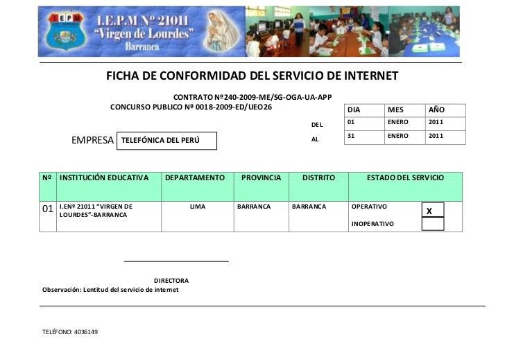 FICHA DE CONFORMIDAD DEL SERVICIO DE INTERNET                                   CONTRATO Nº240-2009-ME/SG-OGA-UA-APP      ...
