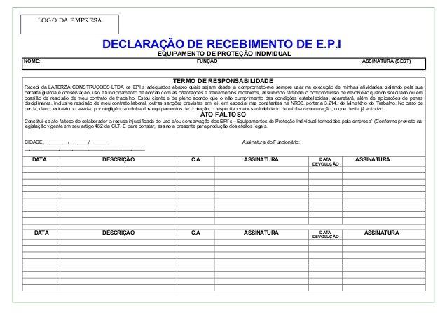 e1156350aec02 LOGO DA EMPRESA DECLARAÇÃO DE RECEBIMENTO DE E.P.I EQUIPAMENTO DE PROTEÇÃO  INDIVIDUAL NOME  FUNÇÃO ASSINATURA ...