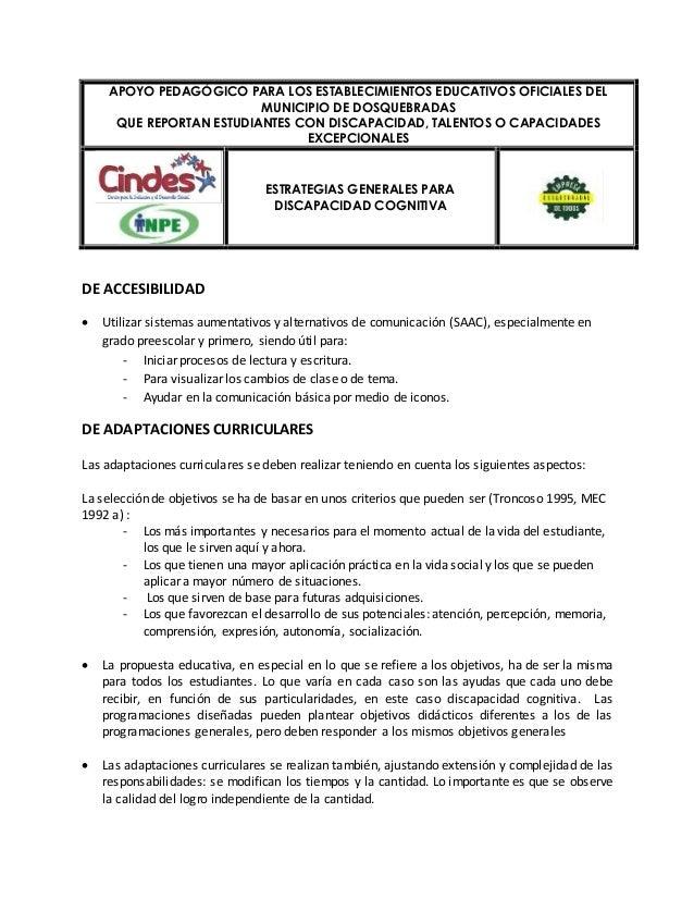 APOYO PEDAGÓGICO PARA LOS ESTABLECIMIENTOS EDUCATIVOS OFICIALES DEL  QUE REPORTAN ESTUDIANTES CON DISCAPACIDAD, TALENTOS O...