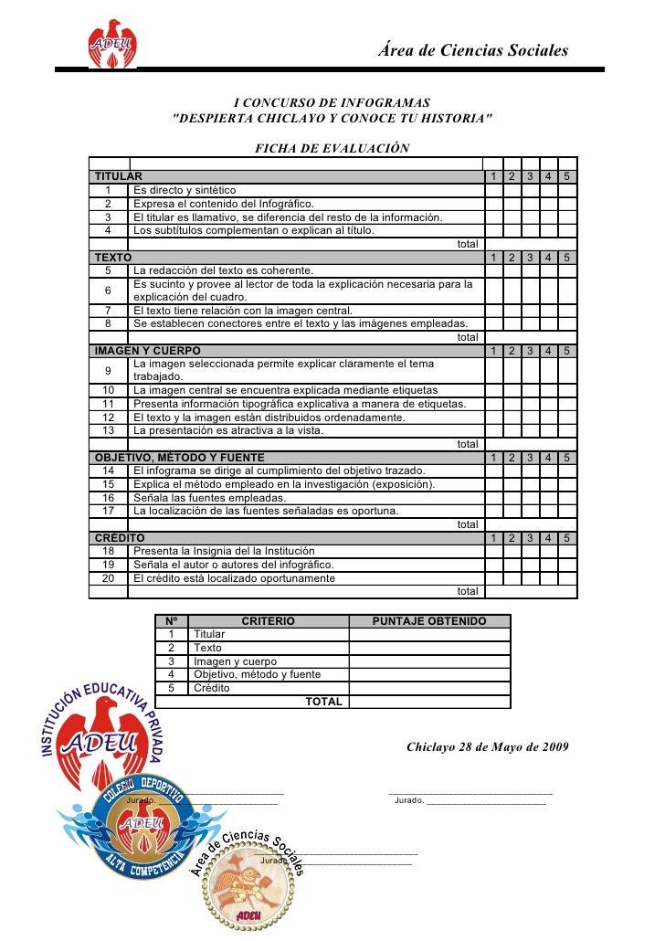 """Área de Ciencias Sociales                          I CONCURSO DE INFOGRAMAS                 """"DESPIERTA CHICLAYO Y CONOCE T..."""
