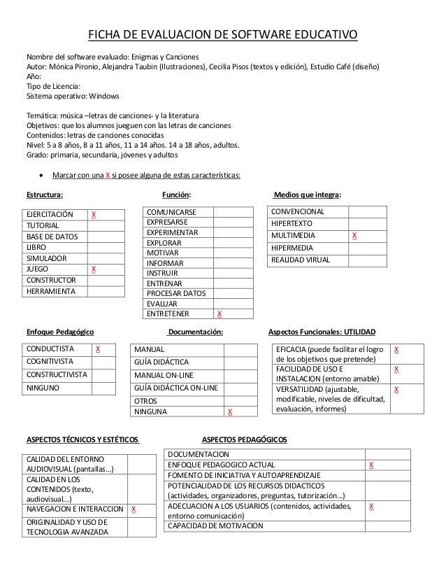 FICHA DE EVALUACION DE SOFTWARE EDUCATIVO Nombre del software evaluado: Enigmas y Canciones Autor: Mónica Pironio, Alejand...