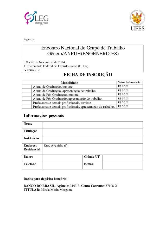 Página 1/4  Encontro Nacional do Grupo de Trabalho  Gênero/ANPUH(ENGÊNERO-ES)  19 a 20 de Novembro de 2014  Universidade F...