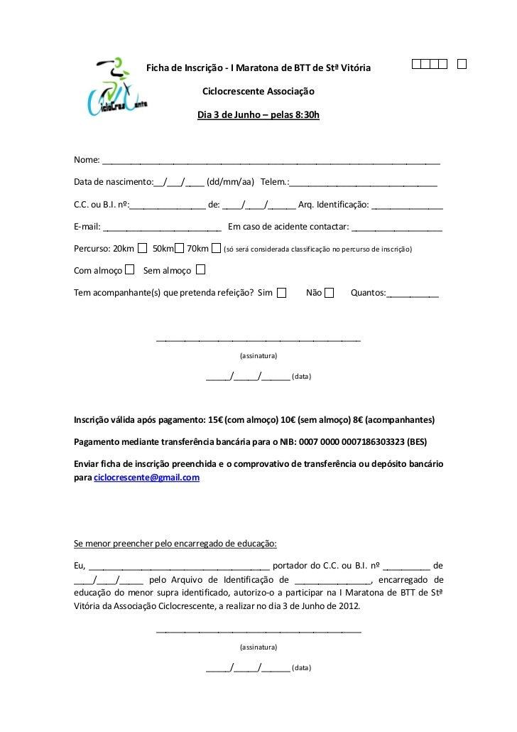 Ficha de Inscrição - I Maratona de BTT de Stª Vitória                               Ciclocrescente Associação             ...
