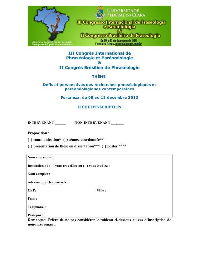 III Congrès International de Phraséologie et Paréomiologie & II Congrès Brésilien de Phraséologie THÈME Défis et perspecti...