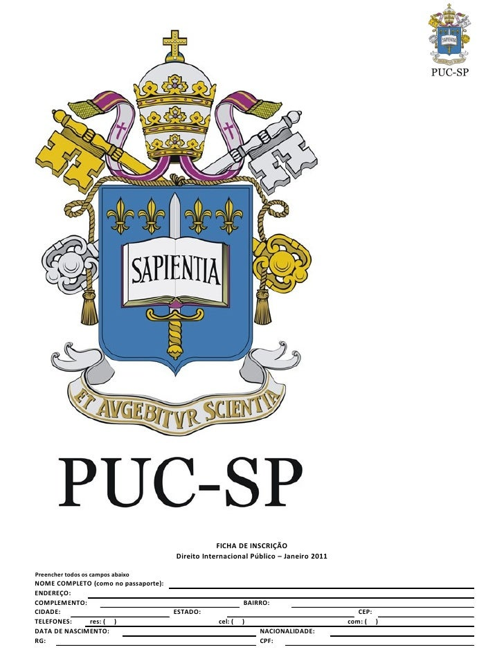 FICHA DE INSCRIÇÃO                                       Direito Internacional Público – Janeiro 2011  Preencher todos os ...