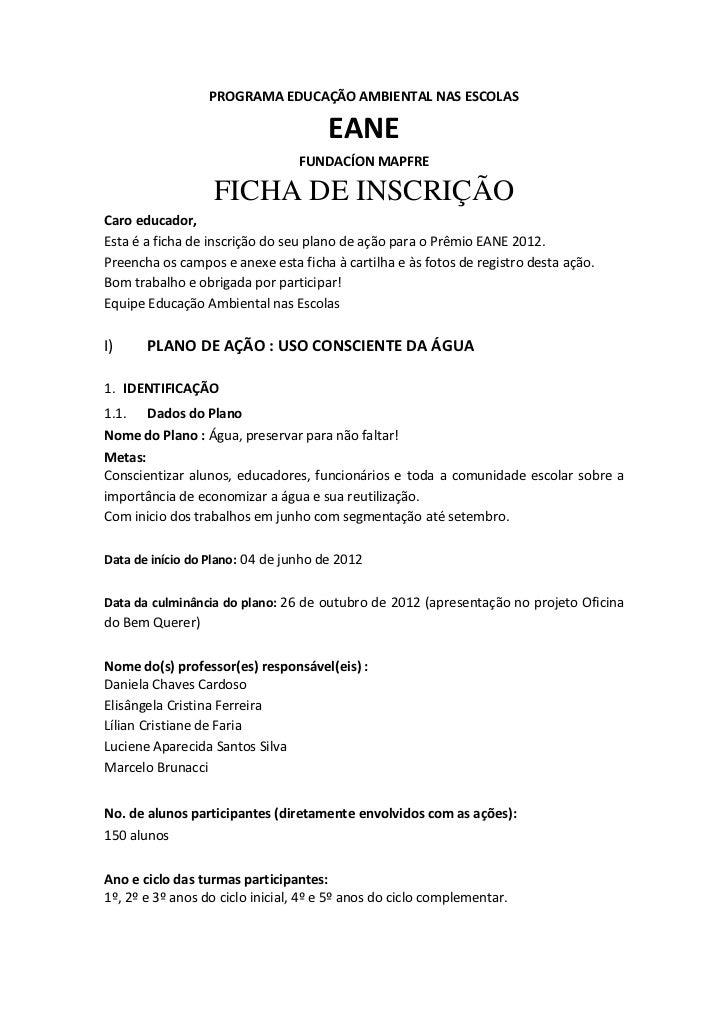 PROGRAMA EDUCAÇÃO AMBIENTAL NAS ESCOLAS                                      EANE                                 FUNDACÍO...