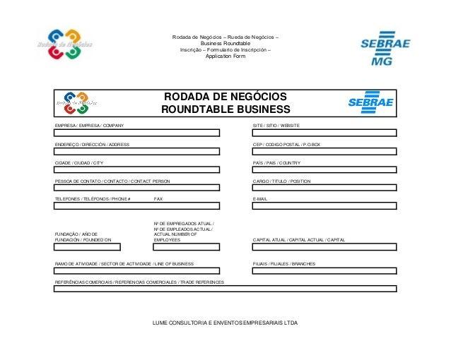 Rodada de Negócios – Rueda de Negócios – Business Roundtable Inscrição – Formulario de Inscripción – Application Form EMPR...